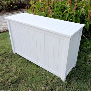International Caravan Royal Fiji Patio Deck Box in Antique White