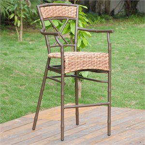 Cebu Aluminum Resin Wicker Barstool (Set of 2)