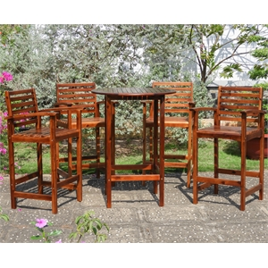 Highland 5-Piece Acacia Bar-Height Dining Set