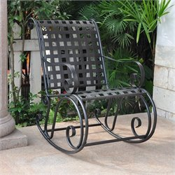 International Caravan Mandalay Iron Scroll High-Back Patio Rocking Chair