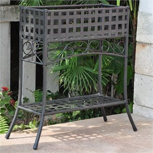 International Caravan Mandalay Iron Potting Bench in Antique Black
