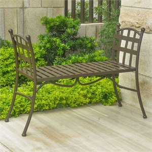 Iron Patio Bench in Bronze