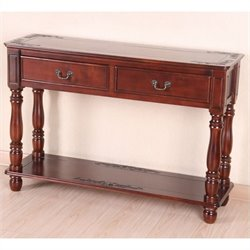 International Caravan Windsor 2 Drawer Rectangular Console Table in Dual Walnut Stain