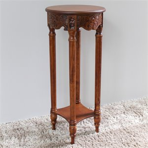 International Caravan Windsor Round Plant Stand in Walnut Stain