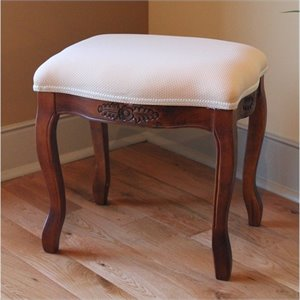 International Caravan Windsor Vanity Stool in Walnut Stain