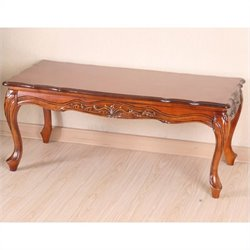 International Caravan Windsor Hand Carved Coffee Table in Dual Walnut Stain