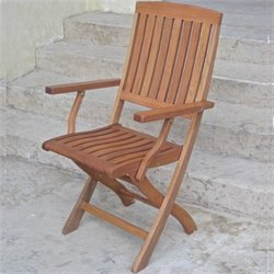 International Caravan Set of 2 Royal Tahiti Folding Wood Patio Chairs