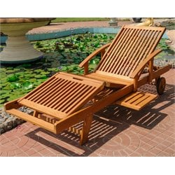 International Caravan Royal Tahiti Outdoor Chaise Lounge with Wheels