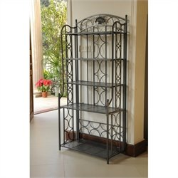 International Caravan  Mandalay Iron 5-Tier Folding Indoor/Outdoor Bakers Rack