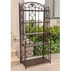 International Caravan Mandalay Iron 5-Tier Bakers Rack in Bronze