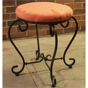 International Caravan Cambridge Round Vanity Stool in Terra Cotta