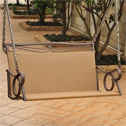 International Caravan Valencia Wicker Hanging Loveseat Patio Swing