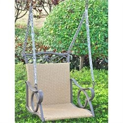 International Caravan Valencia Outdoor Wicker Hanging Patio Swing