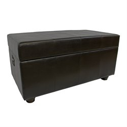 International Caravan Carmel Faux Leather Bench Trunk in Chocolate