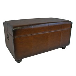 Faux Leather Bench Trunk in Brown