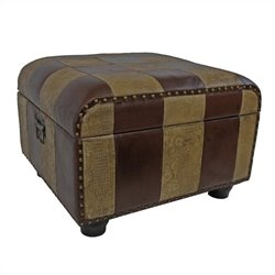 International Caravan Carmel Faux Leather Ottoman Trunk in Mix Pattern
