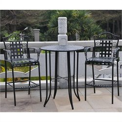 3-Piece Iron Patio Bar-height Bistro Set