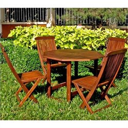 International Caravan Highland 5 Piece Wood Patio Dining Set
