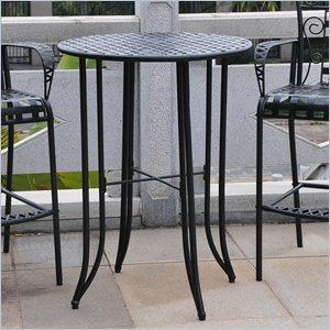 International Caravan Mandalay Iron Patio Pub Table in Antique Black