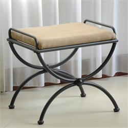 International Caravan Cambridge Iron Vanity Bench with Microsuede Cushion