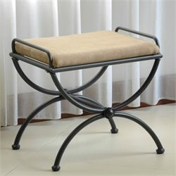 Iron Vanity Bench with Microsuede Cushion