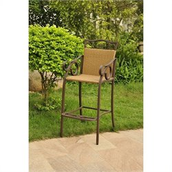 International Caravan Valencia Bar Height Wicker Chair (Set of 2)