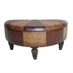 International Caravan Carmel Faux Leather Ottoman in Mix Pattern