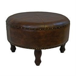 Faux Leather Ottoman Stool in Brown