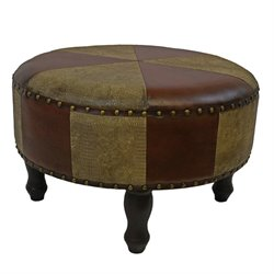 Faux Leather Ottoman Stool in Mix Pattern