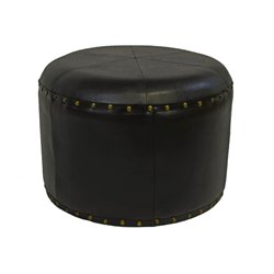 International Caravan Carmel Faux Leather Stool in Dark Chocolate