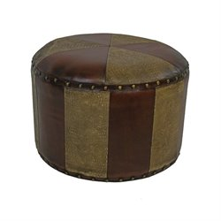 International Caravan Carmel Faux Leather Stool in Mix Pattern
