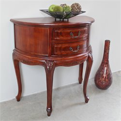 International Caravan Windsor Two Drawer Half Moon Wall Table in Dual Walnut Stain