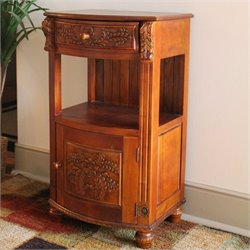 International Caravan Windsor One Drawer Telephone Table in Dual Walnut Stain