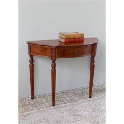 International Caravan Windsor Half Moon Table in Dual Walnut Stain