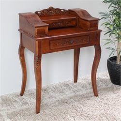 International Caravan Windsor 2 Drawer Telephone Accent Table in Dual Walnut Stain