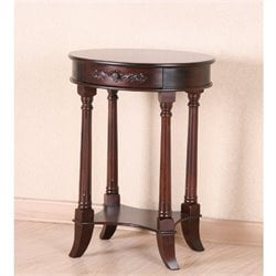 International Caravan Windsor One Drawer Oval Table in Dual Walnut Stain