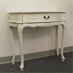 Carved Wood 1 Drawer Wall Table in White
