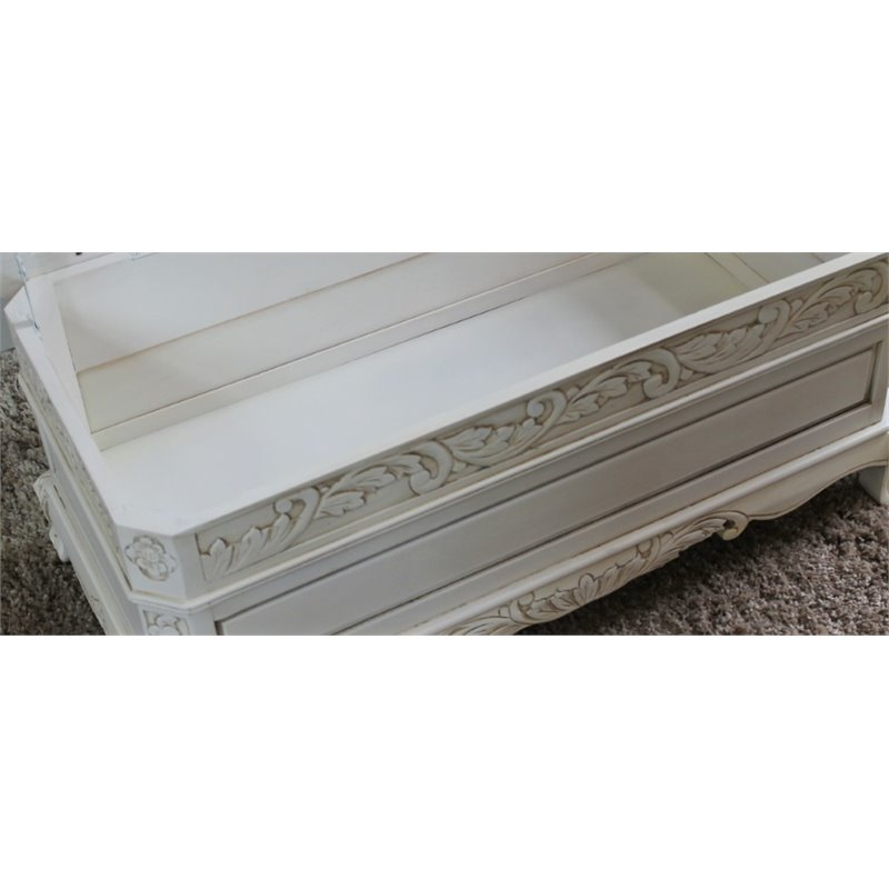 International Caravan Windsor Hand-Carved Antique White Indoor Bench with Trunk