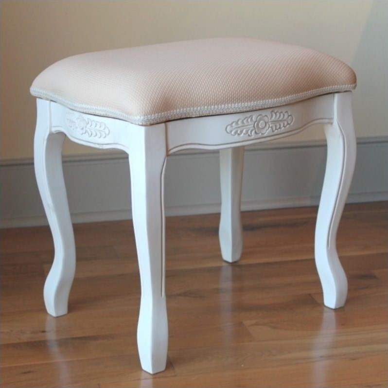 Vanity Stool With Cushion Top In White 3963 Aw