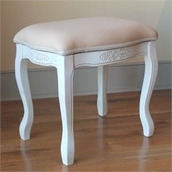 International Caravan Vanity Stool with Cushion Top in White
