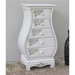 Carved Wood Five Drawer Lingerie Chest in White