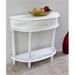 International Caravan Carved Half Moon Wall Table in White