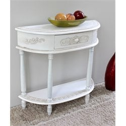 Carved Half Moon Wall Table in White