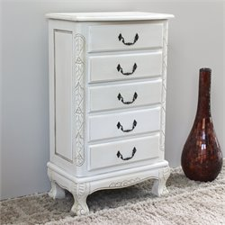 International Caravan Five Drawer Carved Jewelry Chest in White