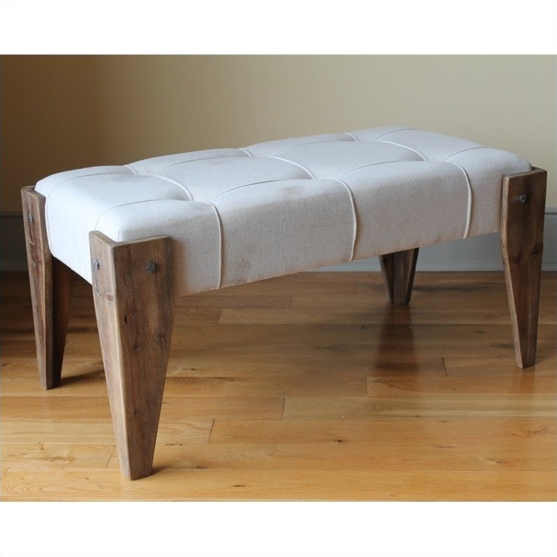 Charlotte Fabric Vanity Bench with Wood Legs
