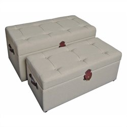 Set of 2 Tufted Fabric Storage Bench