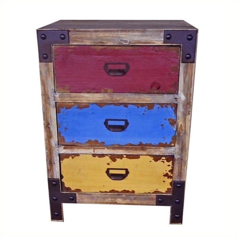 Multicolored 3-Drawer Lamp Table