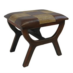 International Caravan Carmel Faux leather Stool in Mixed Pattern