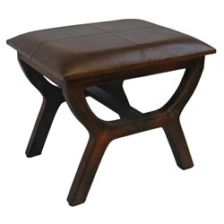 International Caravan Carmel Faux Leather Stool in Brown