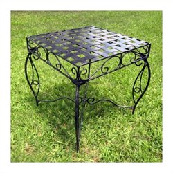International Caravan Mandalay 20-Inch Iron Patio Side Table